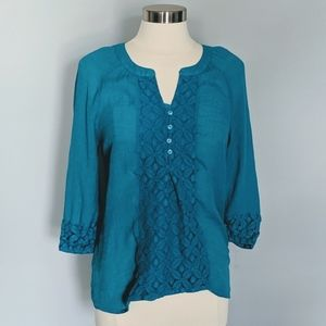 3/$20 Counterparts Turquoise Lace Blouse